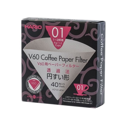 Hario V60-01 Bleached Paper Filters (40 pcs)